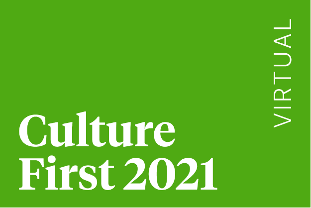 Illustrated text reading 'Culture First 2021 Virtual'